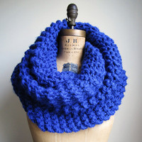 Super Snuggly chunky knit cowl Cobalt Blue READY To by Happiknits