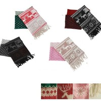 Cheap new arrival deer pattern pink warm cashmere scarf shawl tassel fast deliver ca0111 [ca0111]- US$19.00 outlet free shipping with top quality - scarves4ever.com