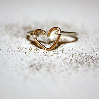 aurum -  sterling silver &amp; 14k gold heart stacking ring by lilla stjarna - ft. sterling silver, 14k gold - gifts under 50 - Valentine&#x27;s Day