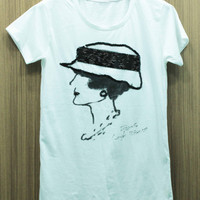 COCO CHANEL T Shirts handmade crystal seed beads sequins sew fix