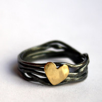 Handmade Sterling Silver Nest Heart Ring- made by Rachel Pfeffer