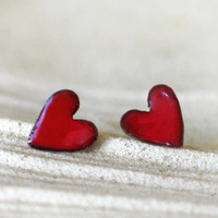 Red Enamel Hearts Post Earrings on copper