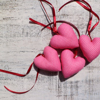 Pink cinnamon sachet heart Valentine Day decor, Valentine gift polka dot home decor