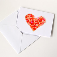 Red heart greeting card with envelope
