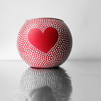 Heart Red and White Hand painted Votive Candle Holder
