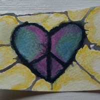 ACEO Original Peace Watercolor With All My by AnythingForMyKids