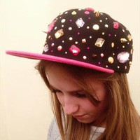 Unique Jewel & Spike Embellished Black & Pink Snap Back Cap from APPRAISED