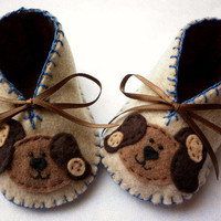 Baby Boy Booties With Cute Puppies. Size Newborn To 3 months