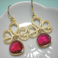 Gold Vermeil Earrings Fuchsia Briolettes by PinkPjs on Etsy