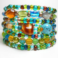 Memory Wire Bracelet Green and Teal Beaches Stacking Beaded Wrap Bracelet