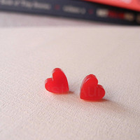 Red Heart Earring Studs - Tiny Heart Earring Posts - Red Earrings - Love Romantic Jewelry