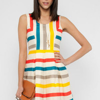 Multi Stripe Dress in Ivory :: tobi
