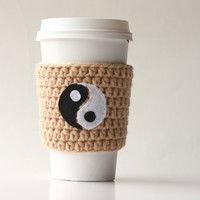 Ying Yang coffee cup cozy - neutral cup cozy  - to go coffee cup sleeve - beige - customizable - personalized