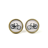 Bicycle Earring Studs - Bike Earring Posts - Bicycle Jewelry - Retro Jewelry - Black White Earrings