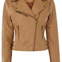 TAN double buckle faux leather biker jacket.