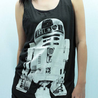 R2-D2 STAR WARS Toy Tank Top Unisex handmade silk screen printing