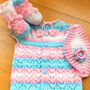 Hand Knitting Baby Set  / 0 - 12 Months / 3 Pieces Baby Set / Pink White Blue Baby Shower /Gift for New Baby / Ready to Shipping