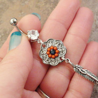 Dreamcatcher Belly Button Jewelry Orange and blue