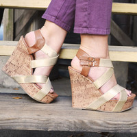 Strut Your Stuff Wedges: Camel/Gold | Hope's