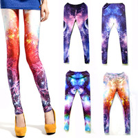HOT Women Fluorescent Galaxy Sexy Printing Leggings Tights Elasticity Stretchy