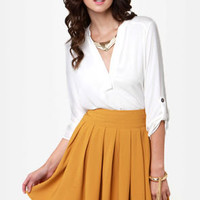 Saffron and On Golden Yellow Skirt