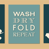Laundry Room Art Prints - Poppy Silhouette Series - Wash Dry Fold Repeat - Set of three 8x10s