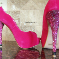 Swarovski Crystal  Fuschia Open Toe Pump  SIZE 7.5  by UniqueHeelz