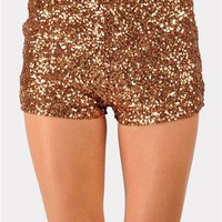 Flashing Nights Sequin Shorts - Gold