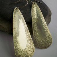 Etched teardrop brass earrings with gold filled by JudysDesigns
