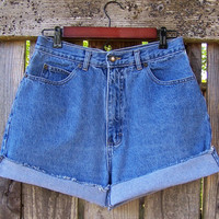 "BUGLE BOY high waisted shorts / jean cut offs / vintage 1990s / frayed cuffed shorts / blue denim shorts 30"" waist"