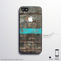 iPhone 5 case, iPhone 5 cover, case for iPhone 5, black wood grain with mint stripe S219