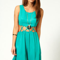 Nia Solid Cross Waist Cut Out Panel Skater Dress