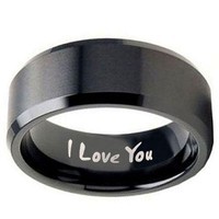 10MM I Love You Engraved MATTE BLACK EP FLAT TOP Tungsten Carbide RING