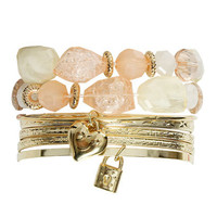 Charms Mixed Bangle Set | Shop Accessories at Wet Seal