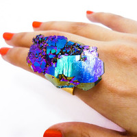 Titanium Quartz Druzy Rainbow Ring Crystal Aura by AstralEYE
