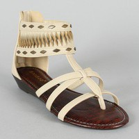 Bamboo Latte-18 Gladiator Ankle Cuff Flat Sandal