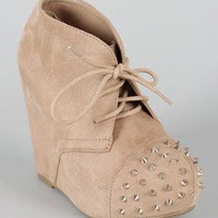 Soda Nuka-S Suede Studded Spike Platform Wedge Bootie
