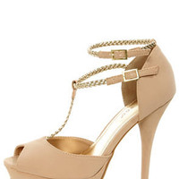 Bamboo Covina 74 Nude and Gold Braided T-Strap Platform Heels