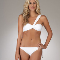 Luxe by Lisa Vogel | Bandeau Swimsuit | White Two Piece Bathing Suit