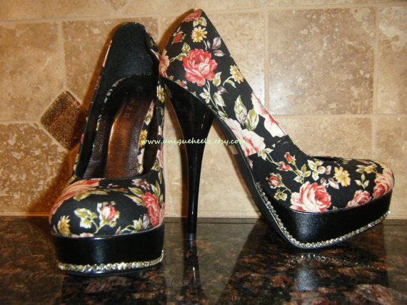 Swarovski Crystal  Floral Platform Pumps  SIZE 7.5  by UniqueHeelz