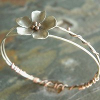 Sweet Magnolia - Sterling Silver and Copper Bangle