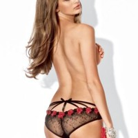 Rose Embroidered Back Cage Panty