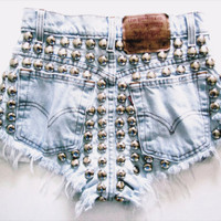 The Monica Shorts (bleached, distressed, studded)