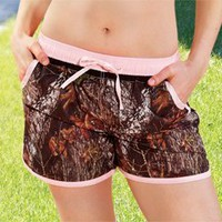 Weber Camo Womens Board Shorts Breakup W/Pink Trim