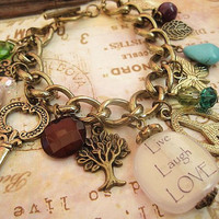 Live Laugh and Laugh Charm Bracelet by trinketsforkeeps on Etsy