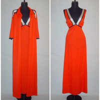Vintage 1970s Red Night Gown and Robe/ Dress