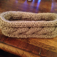 Tan Cable Knit Headband by AmandasHeadbandas on Etsy