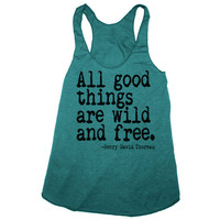 ALL GOOD THINGS are Wild and Free american apparel Tri-Blend Racerback Tank Top S M L (evergreen)