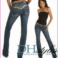 Pharaoh-7173-blue metallic angel wing bootcut jeans