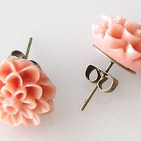 US Seller Vintage Chrysanthemum Dahlia Flower Stud Earrings more than 10 colors